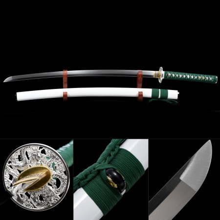 Handmade High Manganese Steel Dragon Tsuba Real Japanese Samurai Katana Swords With White Scabbard