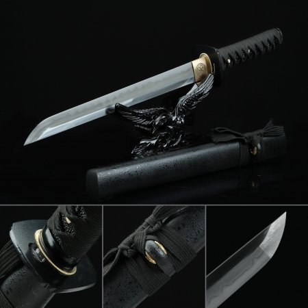 Handmade T10 Carbon Steel Real Hamon Sharpening Straight Blade Japanese Short Hamidashi Tanto Swords