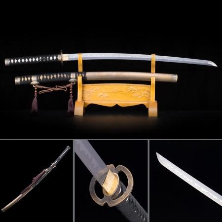 Handmade Japanese Samurai Sword High Manganese Steel Full Tang With Copper Scabbard