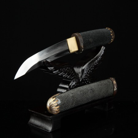 Handmade Damascus Steel Short Japanese Aikuchi Pocket Tanto Knife