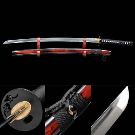 Handmade High Manganese Steel Cloud Tsuba Real Japanese Samurai Katana Sword With Red Scabbard