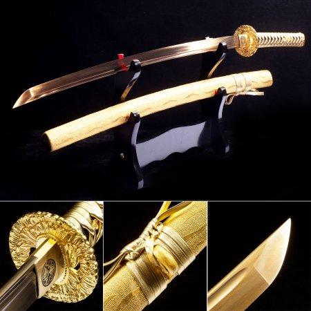 Handmade Japanese Katana Sword 609 Roast Gold Blade With Golden Blade And Scabbard