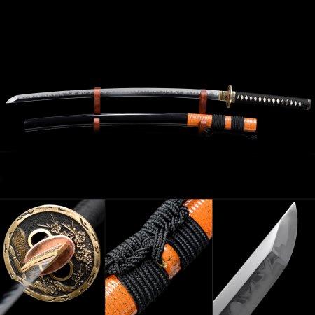 High-performance T10 Carbon Steel Flower Tsuba Real Hamon Japanese Samurai Katana Swords