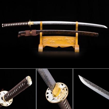 Handmade T10 Carbon Steel Brown Saya Sharpened Real Japanese Katana Samurai Swords