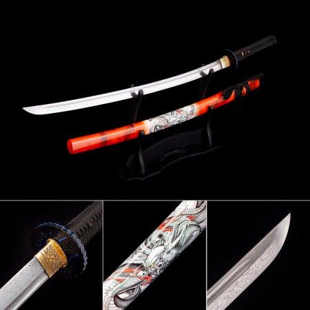 Handmade 1000 Layer Folded Steel Real Japanese Katana Samurai Swords With Red Scabbard