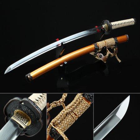 Handmade Spring Steel Real Japanese Katana Samurai Sword With Orange Scabbard And Alloy Tsuba