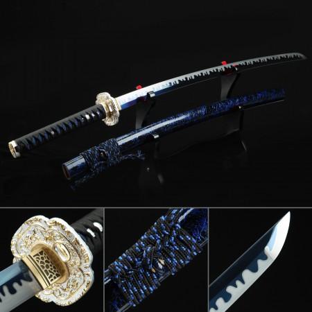 Handmade High Manganese Steel Blue Blade And Flower Tsuba Theme Real Japanese Katana Swords