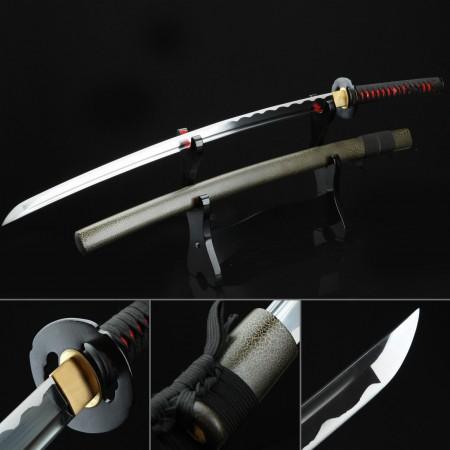 Handmade Carbon Steel Real Japanese Samurai Swords Katana With Green Scabbard