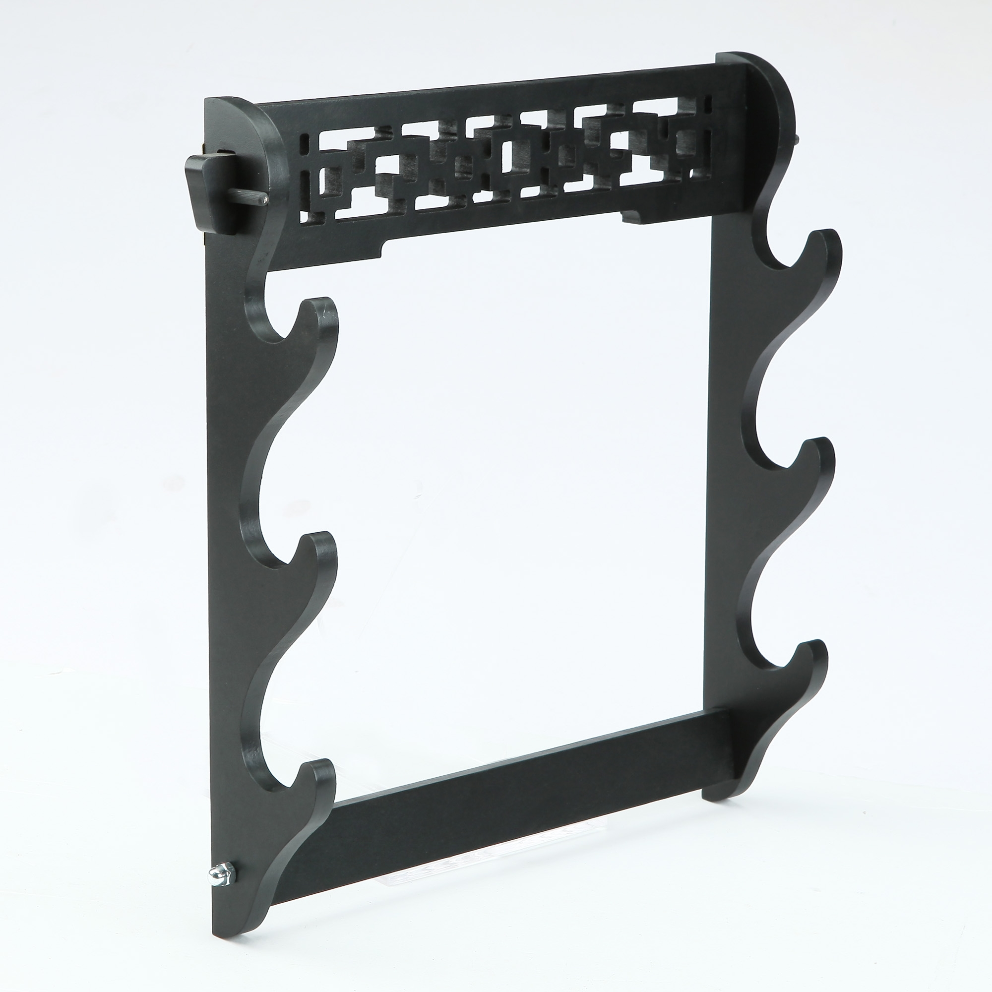 Handmade Black Wooden 3 Tier Katana Sword Stand Holder Display Rack Stand Wall Mount