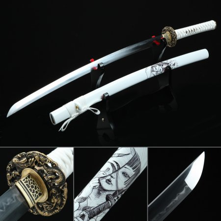 Battle Ready Katana Swords, Handmade Real Hamon Japanese Katana Sword T10 Folded Clay Tempered Steel