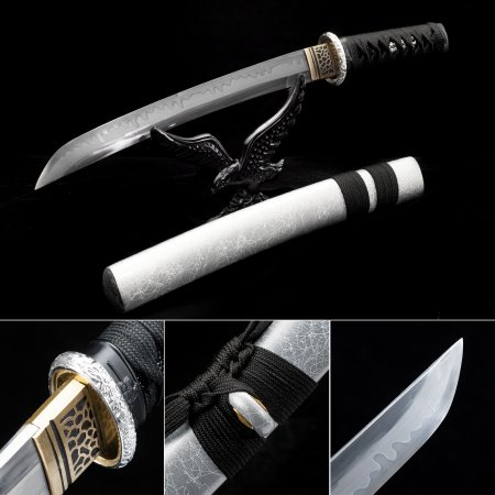 Handmade T10 Carbon Steel Real Hamon Japanese Tanto Swords With Gray Scabbard