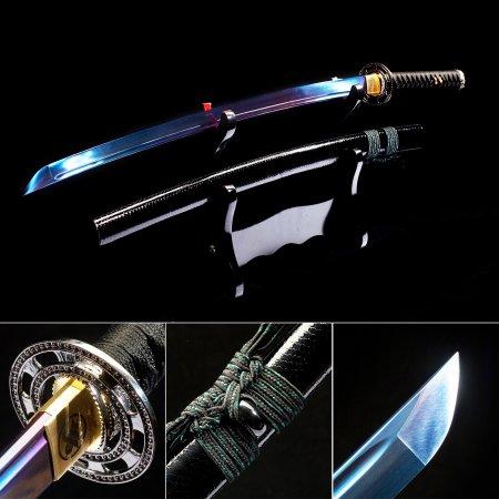 Blue Blade Katana, Handmade Japanese Katana Samurai Swords With Black Leather Scabbard