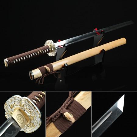 Handmade T10 Carbon Steel Real Hamon Japanese Ninjato Ninja Swords With Natural Scabbard