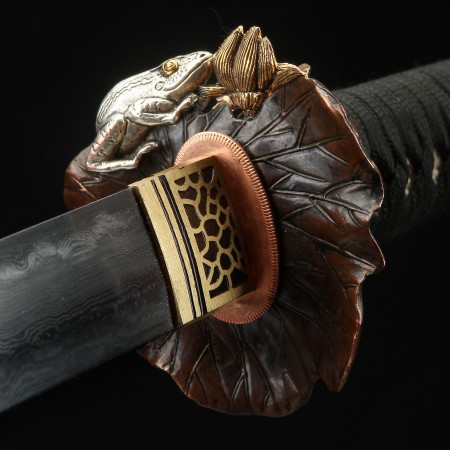 Handmade Gilt Lotus Leaf Tsuba Theme Real Katana Japanese Samurai Swords