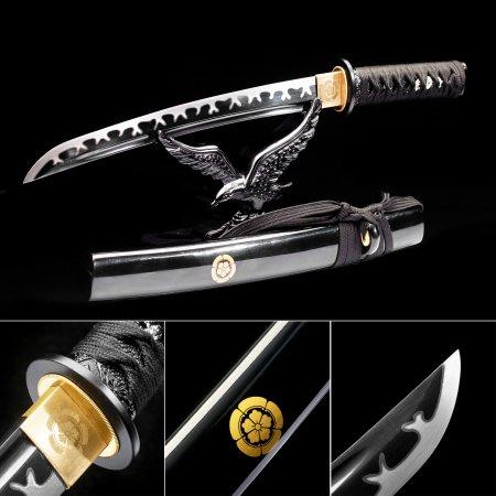 Handmade High Manganese Steel Black Blade Sharpening Japanese Tanto Swords With Black Scabbard