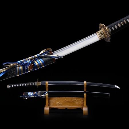 Real Samurai Sword,black Handmade Full Tang Pattern Steel Japanese Katana Swords