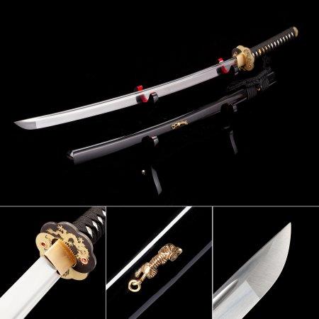 Handmade High Manganese Real Japanese Katana Samurai Swords With Black Scabbard And Dragon Tsuba