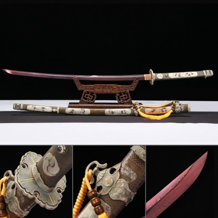 Battle Ready Katana, Authentic Japanese Katana Pattern Steel Sturdy Tactical Swords With Red Balde