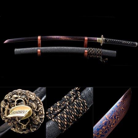 Handmade 1000 Layer Folded Steel Red Blade Real Japanese Samurai Katana Sword With Black Scabbard
