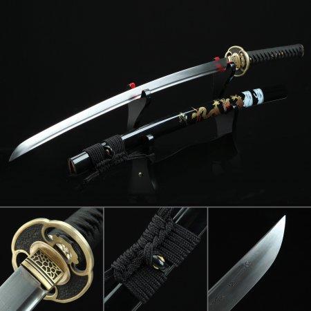 Handmade Pattern Steel Sharpened Real Japanese Katana Samurai Sword With Black Scabbard