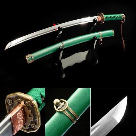 Japanese Shin Guntō Sword, New Military Sword High Manganese Steel With Green Scabbard