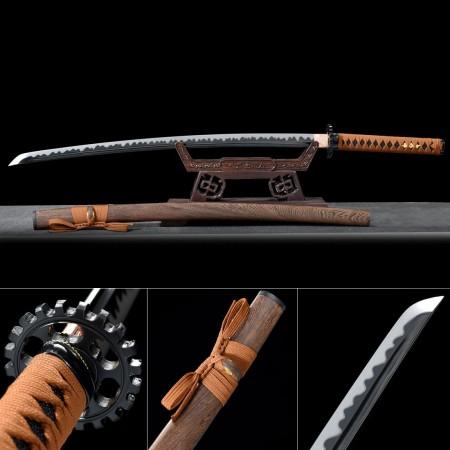 Handmade High Manganese Steel Gear Tsuba Theme Real Japanese Katana Samurai Swords