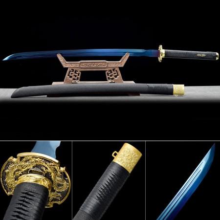 Blue Blade Katana, Handmade Japanese Katana Sword Spring Steel With Blue Blade And Dragon Tsuba