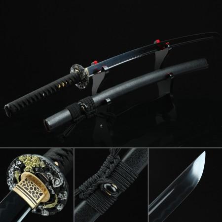 Handmade T10 Carbon Steel Full Tang Real Hamon Japanese Katana Samurai Swords With Black Scabbard