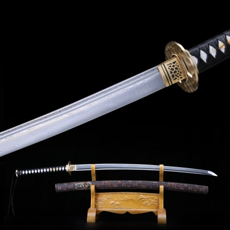 Handmade Damascus Steel Japanese Katana Samurai Swords With Copper Fittings