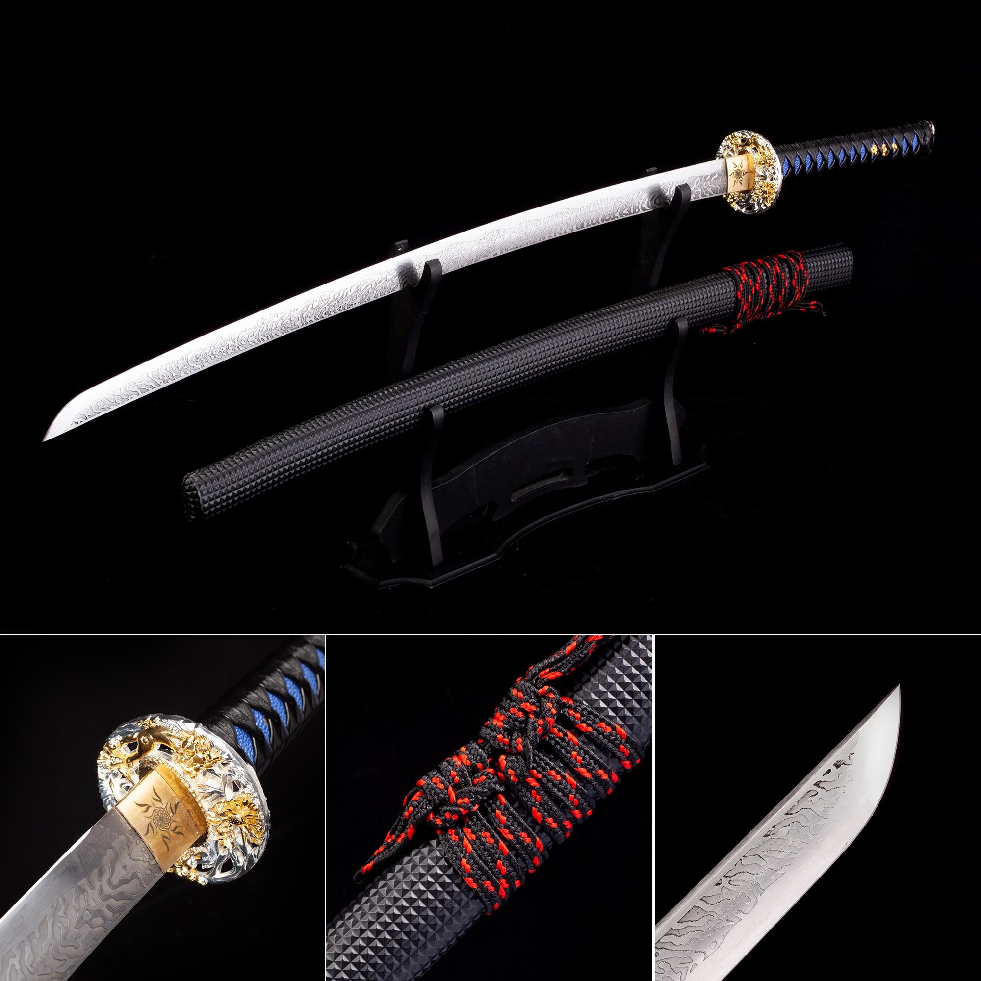 Handmade High Manganese Steel Real Japanese Katana Samurai Swords With Black Leather Scabbard
