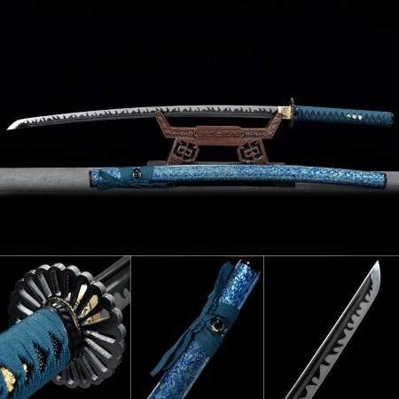 Handmade T10 Carbon Steel Blue Saya And Sunflower Tsuba Real Japanese Katana Samurai Swords