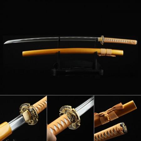 Japanese Katana Sword, Handmade Samurai Sword 1045 Carbon Steel Blade With Dragon Tsuba