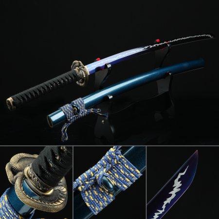 Japanese Sword, Handmade Katana Sword Spring Steel With Blue Blade And Scabbard