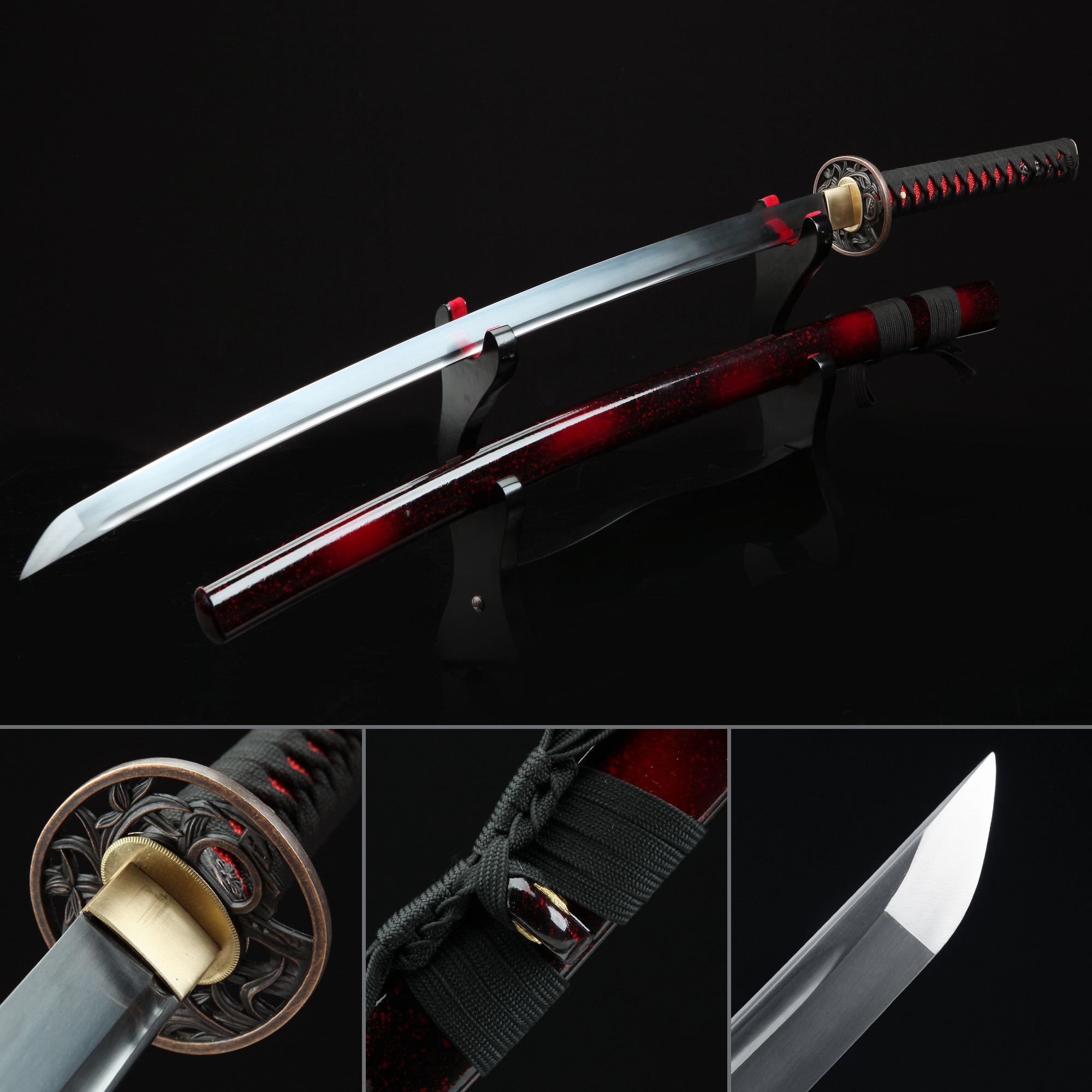 Handmade Black And Red Katana Japanese Samurai Swords With Orchid Tsuba