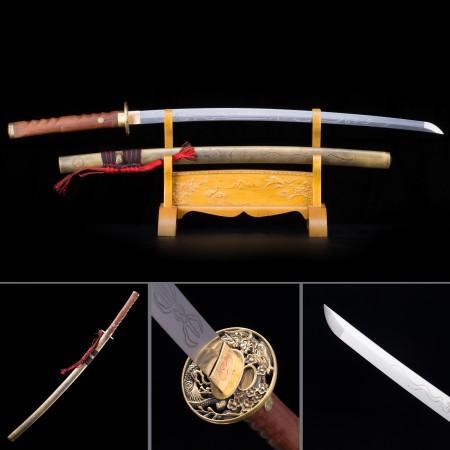 Handmade High Manganese Steel Bronze Saya Full Tang Real Japanese Katana Samurai Swords