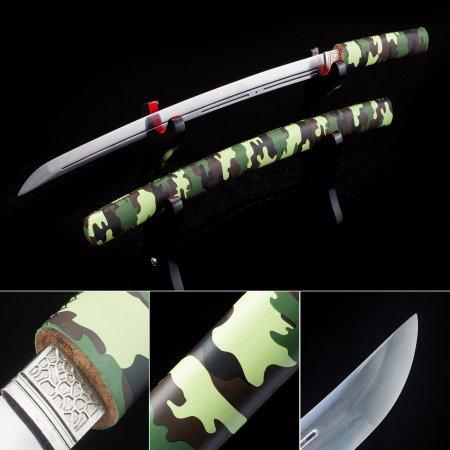 High Manganese Steel Japanese Shirayasa Wakizashi Swords Without Tsuba With Camouflage Scabbard