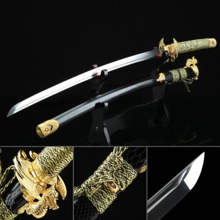 Handmade High Manganese Steel Horns Tsuba Real Japanese Katana Samurai Sword With Black Scabbard