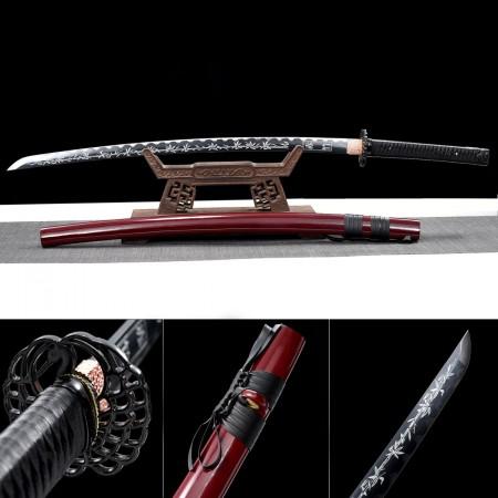 Japanese Katana Swords 1045 Carbon Steel With Printed Blade Red Saya
