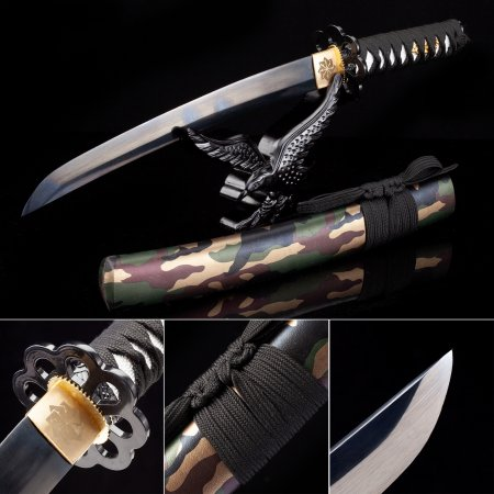 Handmade High Manganese Steel Real Japanese Tanto Sword With Camouflage Scabbard