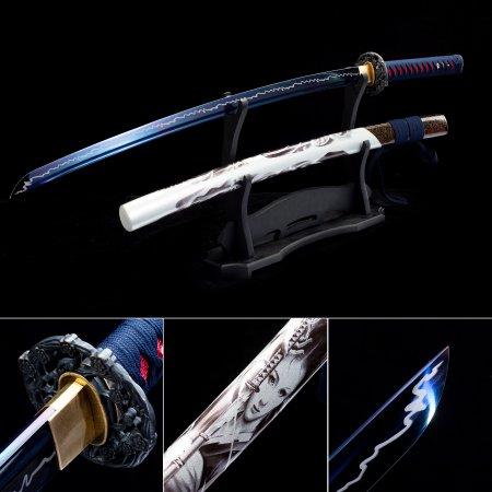 High Manganese Steel Blue Blade Sharpening Japanese Katana Samurai Swords With White Scabbard