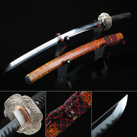Battle Ready Katana, Authentic Japanese Sword T10 Folded Clay Tempered Steel Tactical Sword