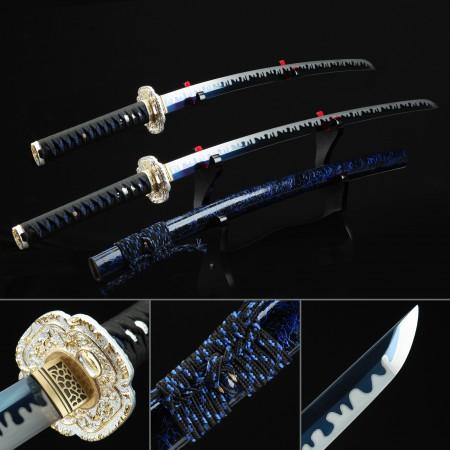 Daisho Set, Katana Sword Set - Katana & Wakizashi Sword High Manganese Steel With Blue Blade