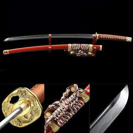 Handmade T10 Carbon Steel Flower Tsuba Real Hamon Japanese Samurai Katana Sword With Red Scabbard