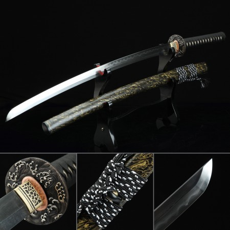 High-performance Damascus Steel Wave Tsuba Real Hamon Hand Sharpening Japanese Katana Samurai Swords