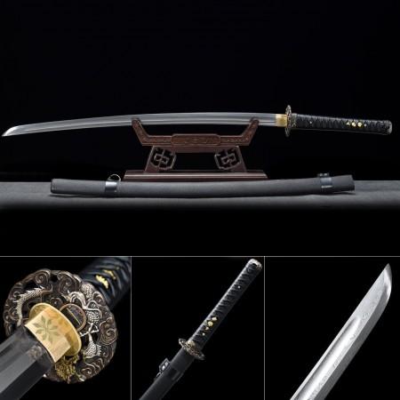 Handmade Folded Pattern Steel Dragon Tsuba Theme Real Japanese Katana Samurai Swords