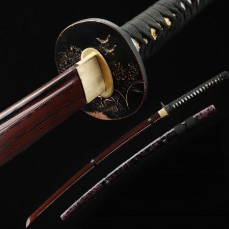 Handmade Red Printed Blade Katana Real Katana Japanese Samurai Swords