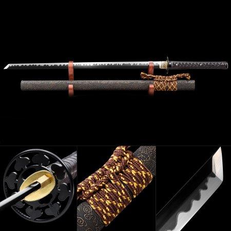 Handmade High Manganese Steel Black Blade Real Japanese Ninjato Ninja Swords With Gray Scabbard