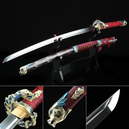 Handmade Japanese Katana Sword High Manganese Steel With Dragon Tsuba