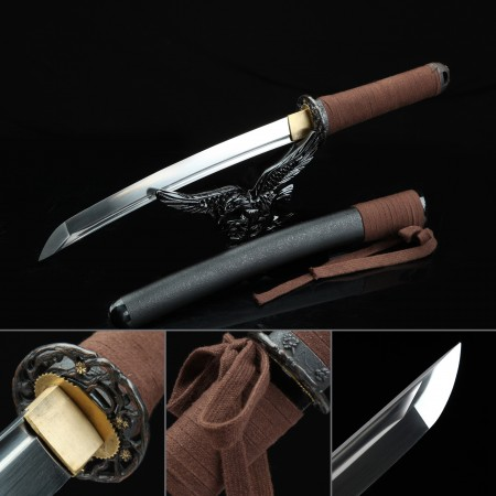 Handmade High Manganese Steel Real Japanese Tanto Sword With Black Scabbard