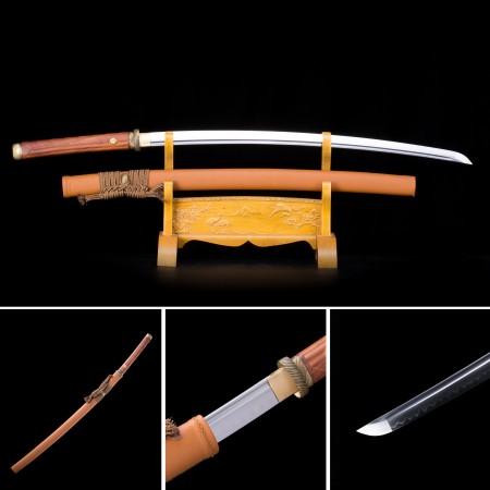 Handmade T10 Carbon Steel Orange Saya Real Hamon Japanese Katana Samurai Swords